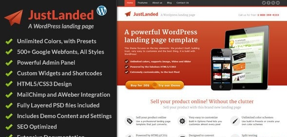 JustLanded V WordPress Landing Page Vestathemes Download - Wordpress landing page template