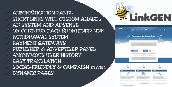LinkGen v1 1 – Monetized AdFly Clone URL Shortener PHP Script