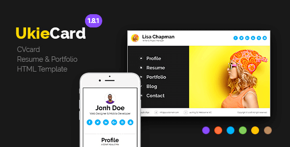UkieCard v1.8.1 – Personal Vcard & Resume HTML Template ...