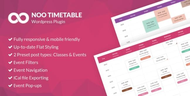 Noo Timetable v2 0 4 9 1 – WordPress Calendar & Auto Sync